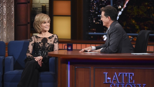 Jane Fonda and Stephen Colbert