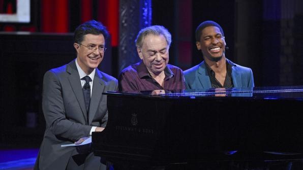 Andrew Lloyd Webber, Jon Batiste, and Stephen Colbert