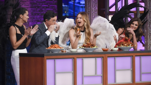 Adriana Lima, Taylor Hill, Behati Prinsloo, and Stephen Colbert