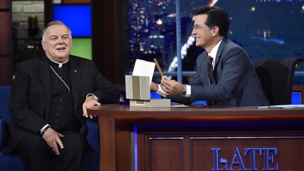 Thomas Wenski and Stephen Colbert