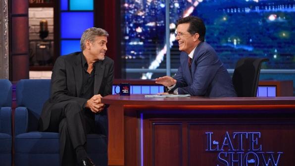 George Clooney and Stephen Colbert