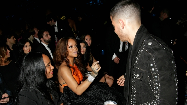 Looks like Rihanna has something to say to Nick Jonas—and he's all ears.