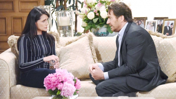 Ridge attempts to comfort Quinn and assure her that their secret is still safe.