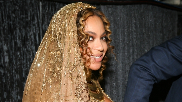 Queen Bey looks positively radiant in this close-up photo of the intricate veil she wore during her GRAMMY performance.