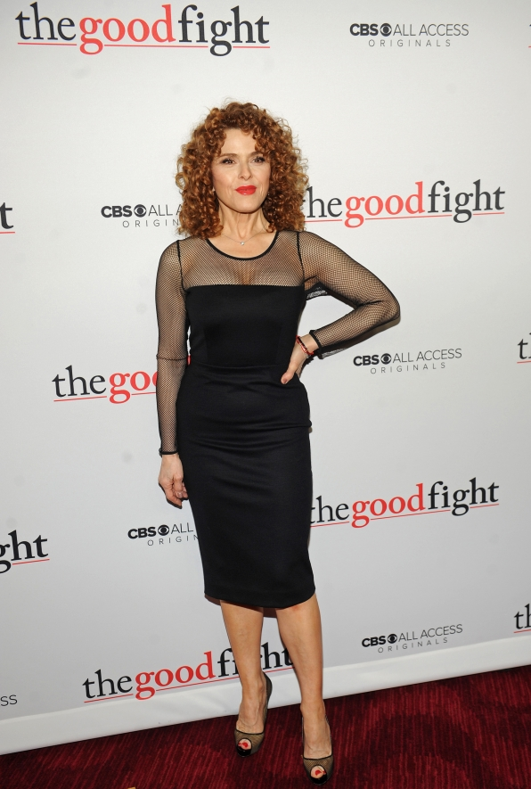 All eyes are on Bernadette Peters as she rules the red carpet in a black bodycon dress with sheer sleeves.
