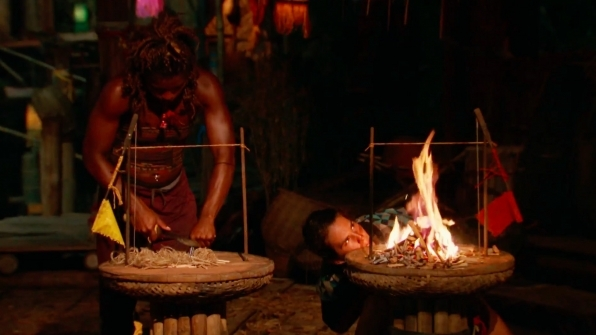 6. A fire-making challenge determines who stays and who goes.
