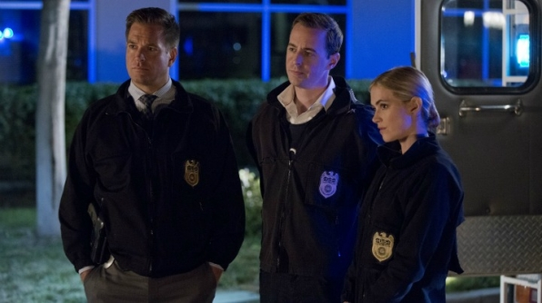 Michael Weatherly as Anthony DiNozzo, Sean Murray as Timothy McGee, and Emily Wickersham as Ellie Bishop