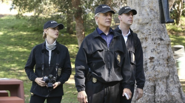 Emily Wickersham as Ellie Bishop, Mark Harmon as Leroy Jethro Gibbs, and Sean Murray as Timothy McGee