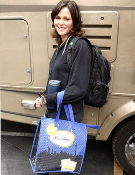 "CSI Instagram: Check out the beautiful Jorja Fox who is always ready to go to work complete with her thermos and ""Las Vegas"" bag. #prepared #CSI #CBSInstagramTakeover"