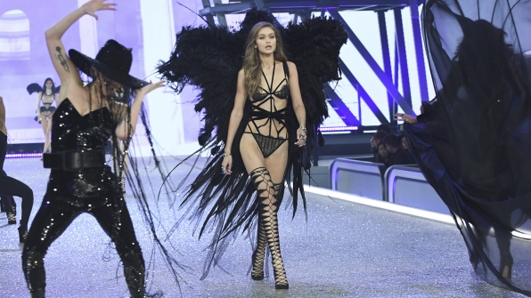 "Gigi Hadid redefines ""Dark Angel"" in this oh-so slinky number."