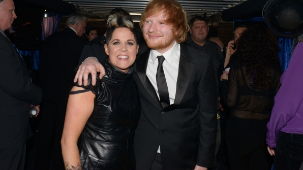 Ed Sheeran and Amy Wadge let their smiles do the talking