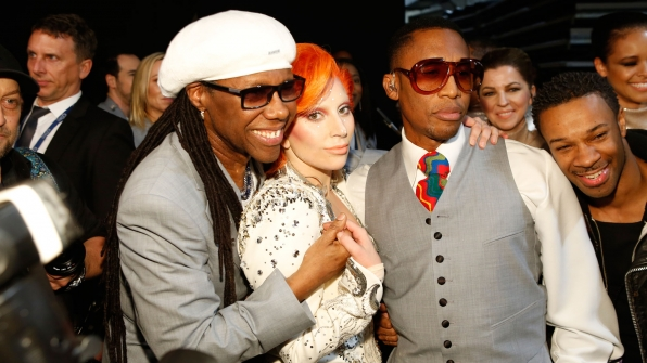 Nile Rodgers hugs the one-and-only Lady Gaga