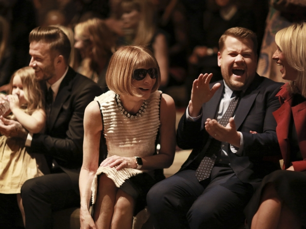 James cracks up his wife and Vogue editor Anna Wintour.