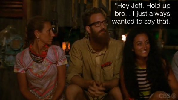 Max has an awkward Tribal Council moment when he gets everyone's full attention, including Jeff Probst, with this random statement.
