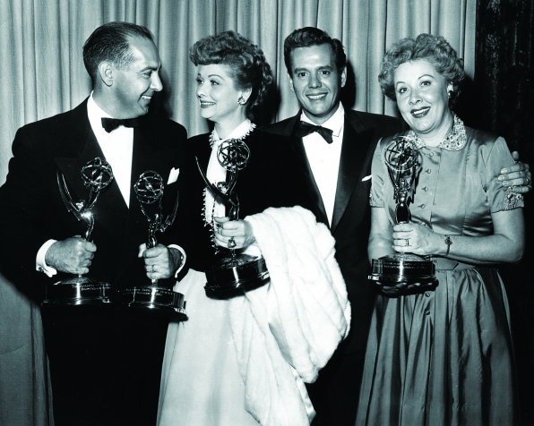 Harry Ackerman with the cast of I Love Lucy