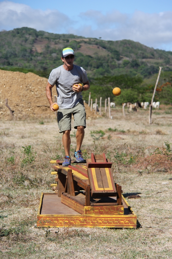 Jeff tests the catapult