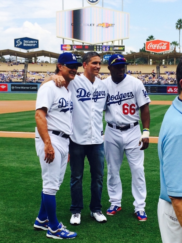 Jim Caviezel hangs out with some Dodger team members