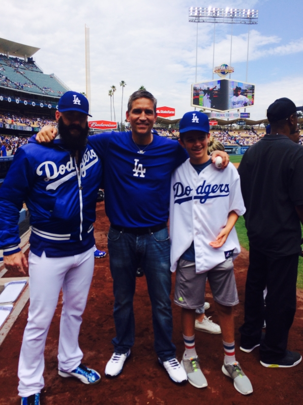 Jim Caviezel at Dodgers Stadium in L.A.