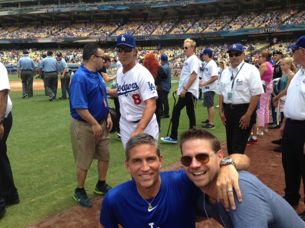 Jim Caviezel threw out the first pitch before the game between the Chicago Cubs and Los Angeles Dodgers at Dodger Stadium