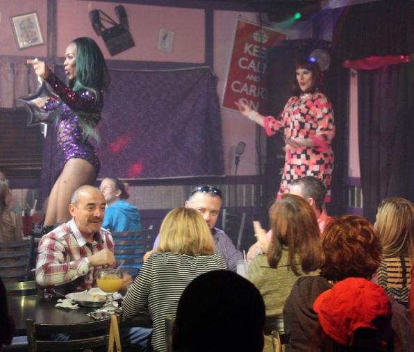 Ashley busts a move alongside another Hamburger Mary's performer.