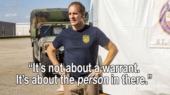 """It's not about a warrant. It's about the person in there."""