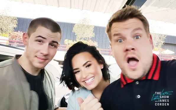 First off, a Nick-Jonas-Demi-Lovato-James-Corden Selfie!