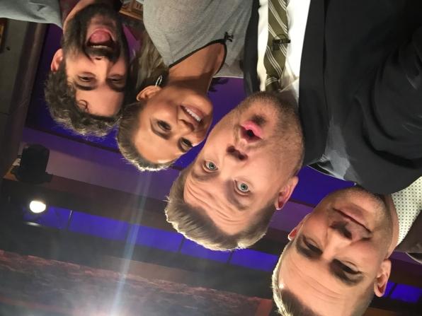 James Van Der Beek goes upside down with Chrissy Teigen and Jay Duplass