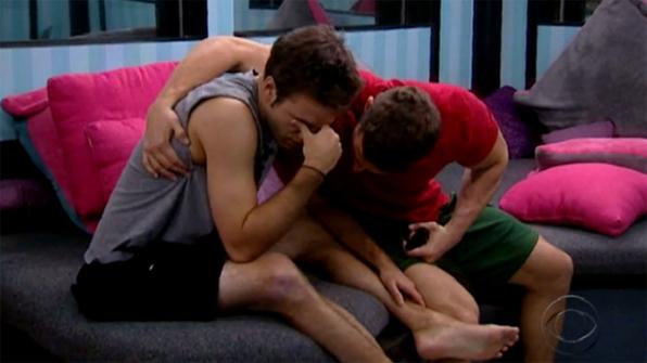 Dan (very convincingly) fake-cries on Jessie's shoulder