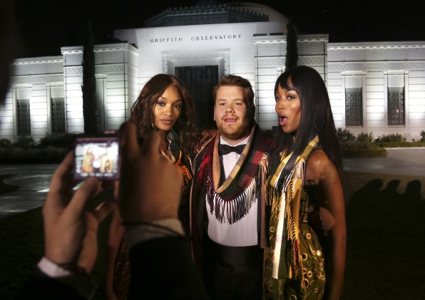 James gets a keepsake pic with Jourdan Dunn and Naomi Campbell.