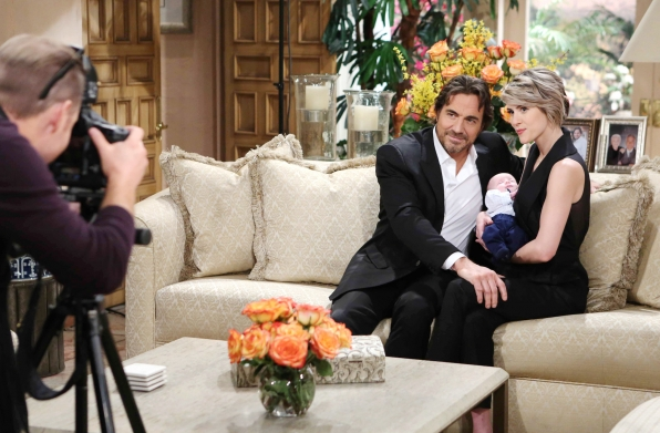 Ridge and Caroline take their first family photos with baby Douglas.