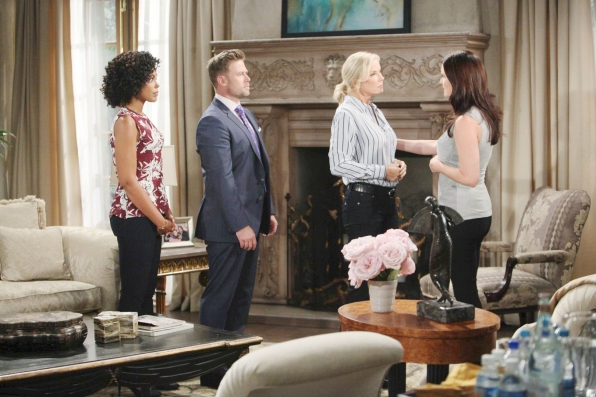Rick, Maya, and Katie attempt to console Brooke, who eventually breaks down and confides in Katie about why she left Bill.