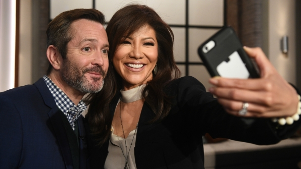The Talk's Julie Chen snapped a cute selfie with The Odd Couple's Thomas Lennon.