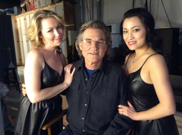 Kurt Russell with Liza and Tuyen Backstage