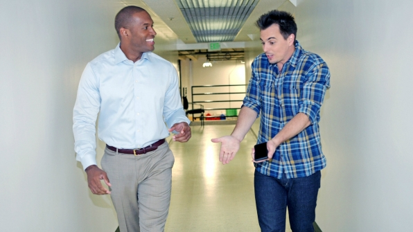 Lawrence Saint-Victor and Darin Brooks shared stories between scenes.