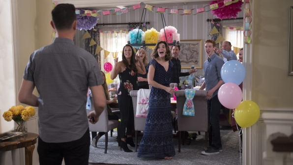 The Short family surprises Greg and Jen with a baby shower.