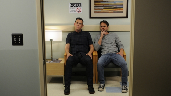 Greg and Matt wait out in the hall at the hospital. But why?