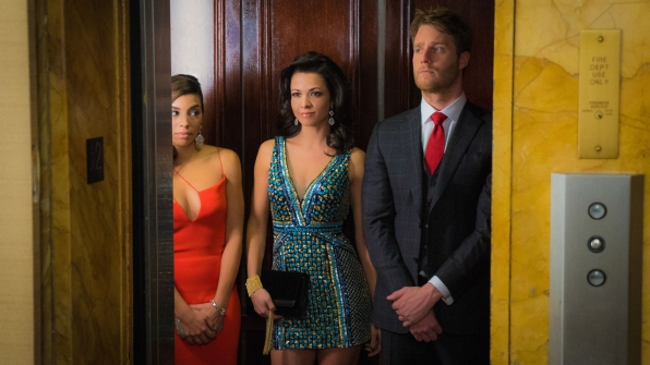 Christina Vidal as Lucy Church, Evgeniya Radilova as Irina, and Jake McDorman as Brian Finch