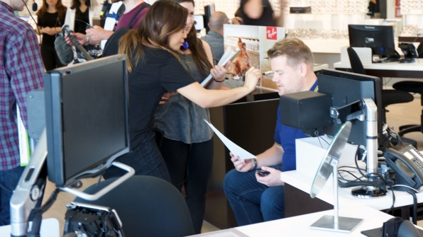 James Corden gets touched-up before the shoot.