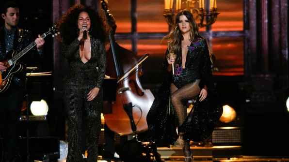 "Maren Morris featuring Alicia Keys perform ""Once"" at the 2017 GRAMMY Awards."