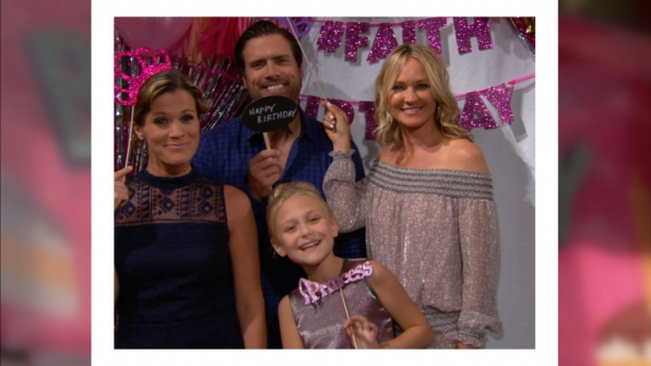 Melissa Claire Egan (Chelsea Newman), Joshua Morrow (Nick Newman), Faith, and Sharon got silly.