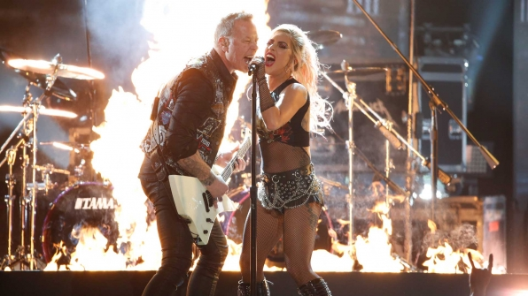 "Metallica featuring Lady Gaga perform ""Moth Into Flame"" at the 2017 GRAMMY Awards."