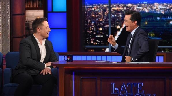 Elon Musk and Stephen Colbert