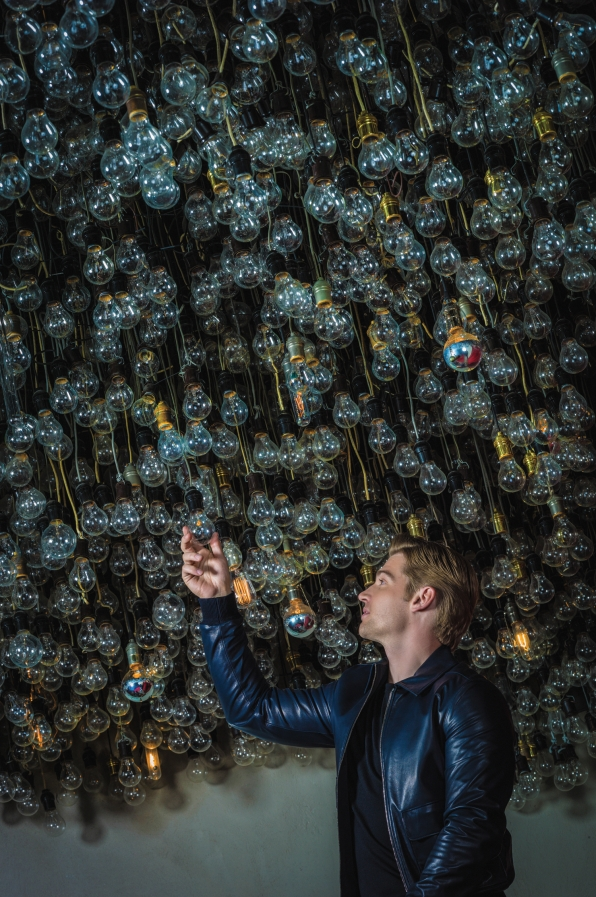 Mike Vogel With Light Bulbs - Watch! Magazine August 2014