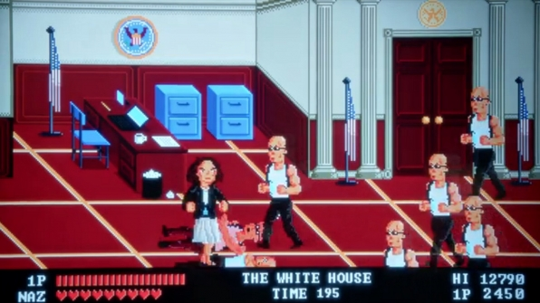 When Naz goes to DC, she suddenly turns into an old-school, 16-bit video game star.