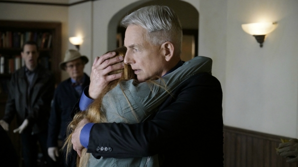 Gibbs comforts Fornell's daughter, Emily.