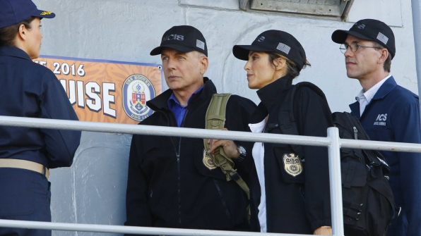 Gibbs, Quinn, and Palmer arrive on a destroyer.