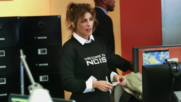 Quinn sports her new NCIS sweater from Abby.