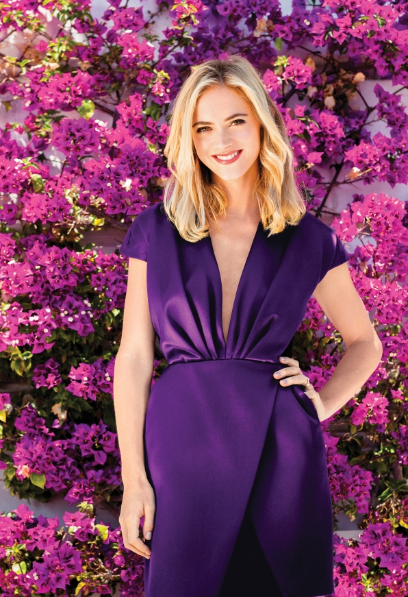 Emily looks vivacious in violet.