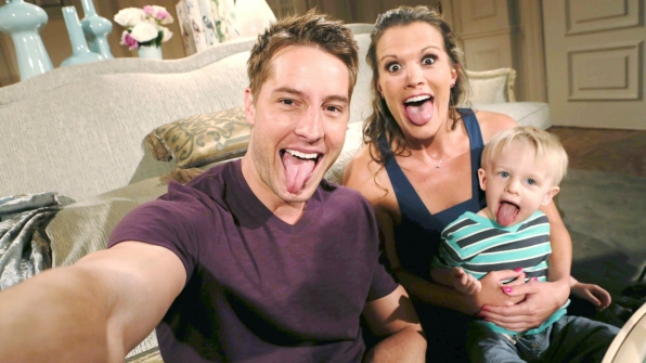 Justin Hartley and Melissa Claire Egan never take a boring family portrait, especially when they're onscreen son is around.