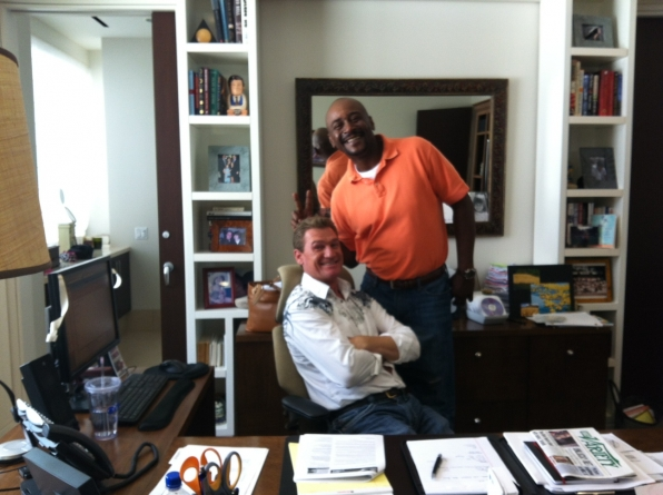 Mark and Bopper at Nina's Desk